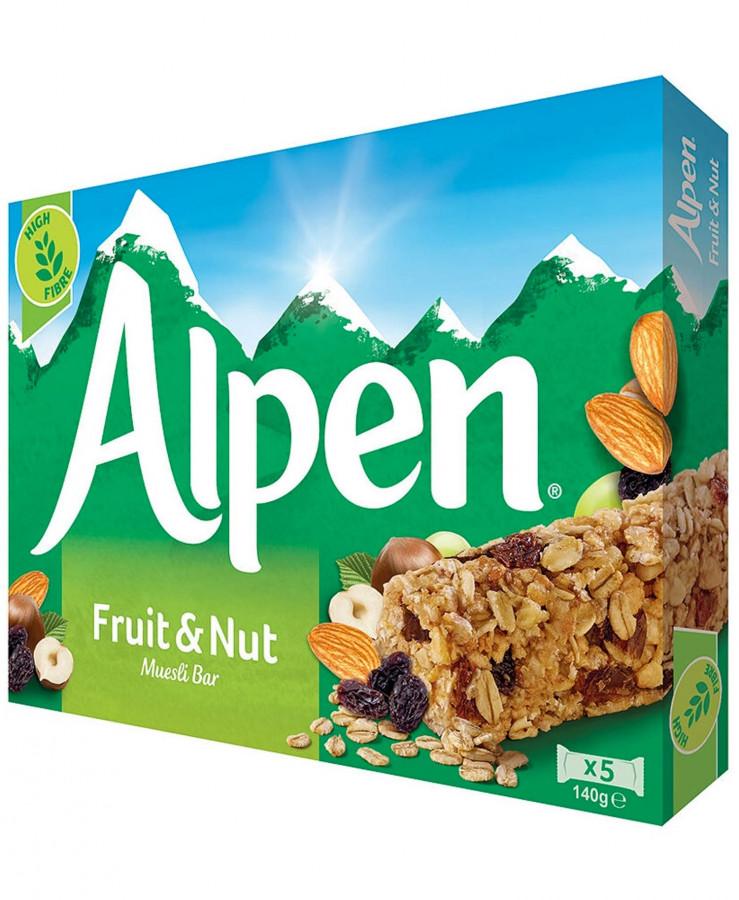 Злаковые батончики с фруктами и орехами Alpen, 5 шт.