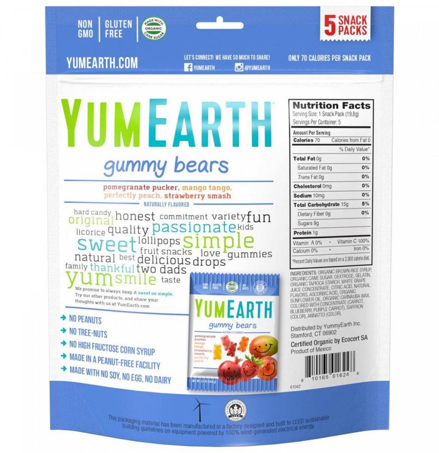 Assorted flavor gummy bears YumEarth, 5 packs