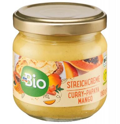 Aufstrich, Streichcreme Curry-Papaya-Mango dmBio, 180 g