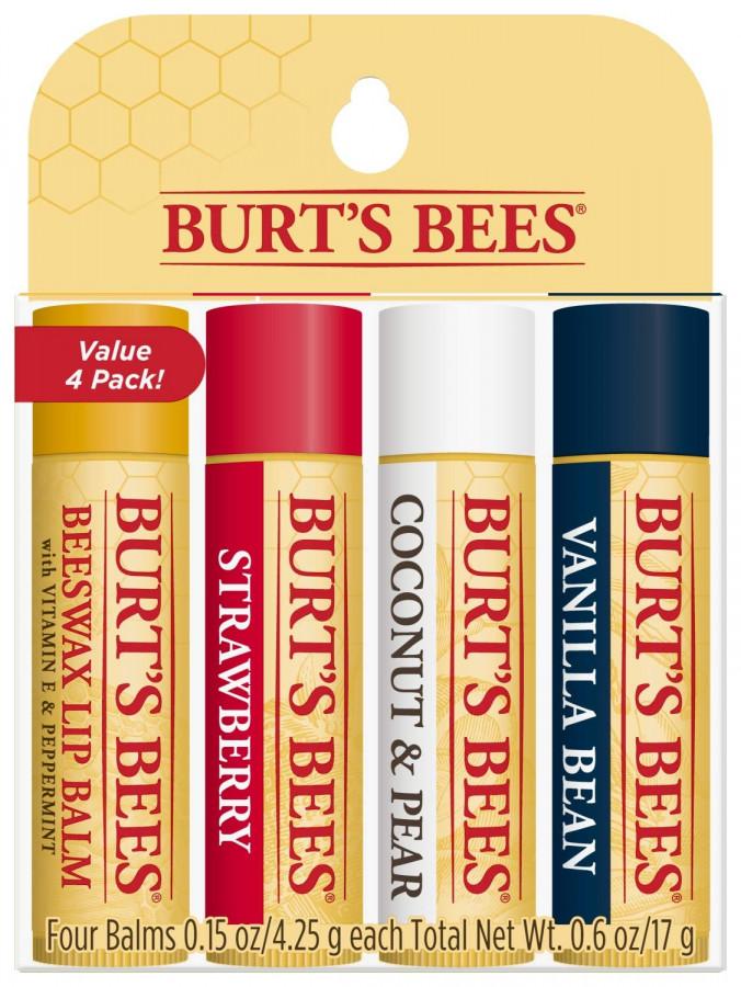 Увлажняющие бальзамы для губ Burt's Bees, 4 шт (классический, клубника, кокоси груша,ваниль).