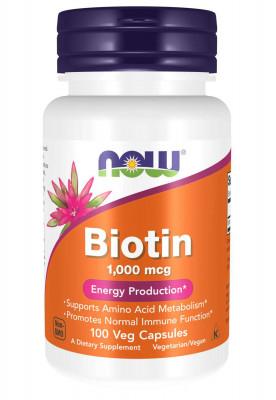 Биотин (1000 мкг) NOW, 100 капсул