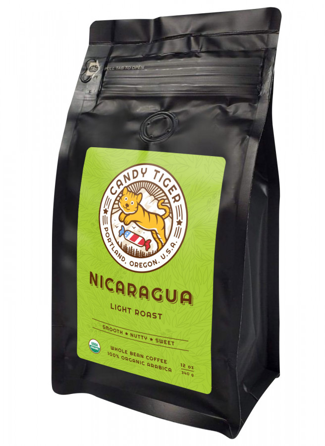 Candy Tiger Nicaragua Оrganic whole bean coffee, 12 oz