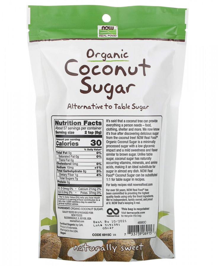 Органический кокосовый сахар NOW Foods, 454 г