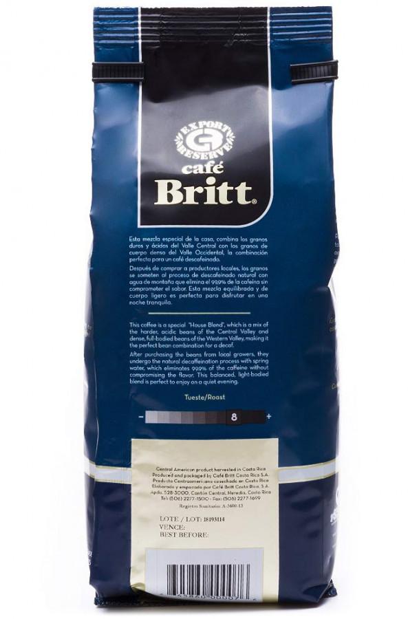 Café Britt Decaffeinated Coffee whole bean