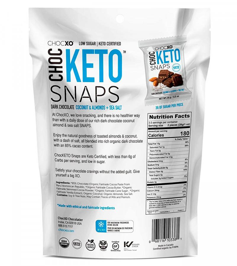 Dark Chocolate Coconut and Almond Keto Snaps ChocXO, 14.8 oz