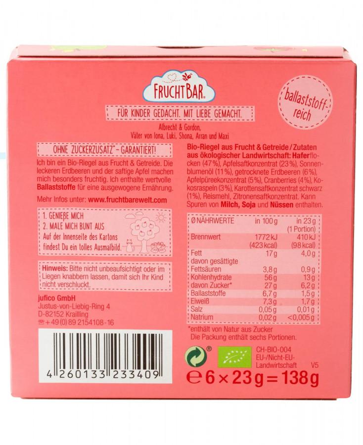 Fruchtriegel Erdbeere, Apfel, Hafer ab 12 Monaten FruchtBar, 138 g