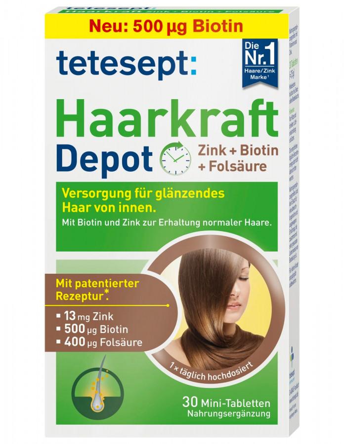 Комплекс для укрепления волос с цинком и биотином Tetesept, 30 таблеток