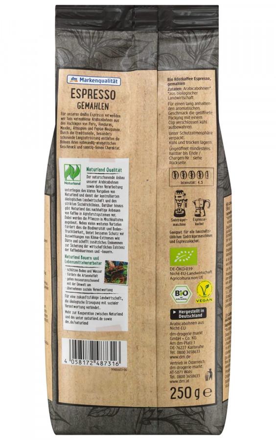 Kaffee, Espresso, gemahlen, dmBio Naturland, 250 g