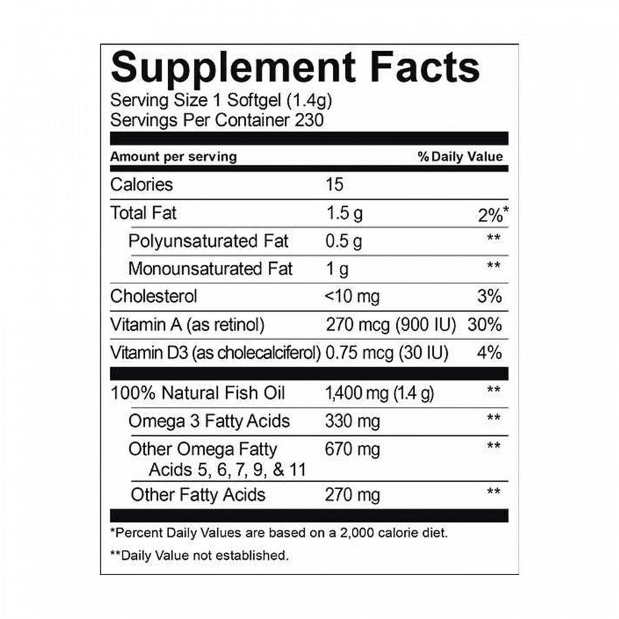 Рыбий жир Kirkland Signature 1400 мг, 230 таблеток