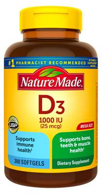 Витамин D3 Nature Made, 1000 МЕ, 300 таблеток