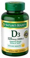 Nature's Bounty Витамин D3, 400 капсул