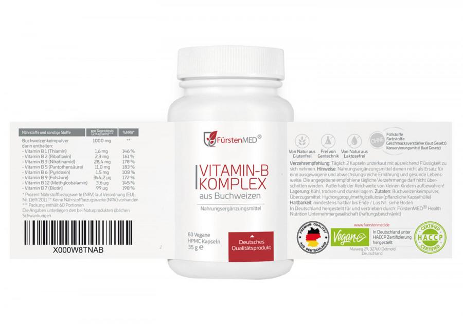 Natürlicher Vitamin B-Komplex FürstenMED, 60 Kapseln