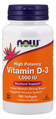 NOW Supplements, Vitamin D-3 1,000 IU, 180 Softgels