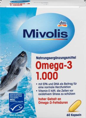 Омега-3 1000 мг и витамин Е Mivolis, 60 капсул