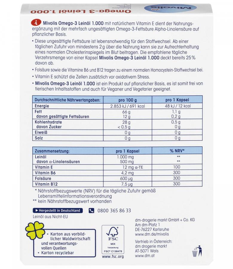 Omega-3 Flaxseed oil 1000 Mivolis dm, 30 capsules
