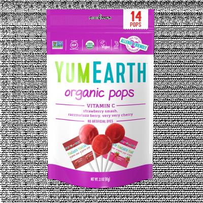 Органические леденцы на палочке с ягодным вкусом YumEarth, 14 шт.