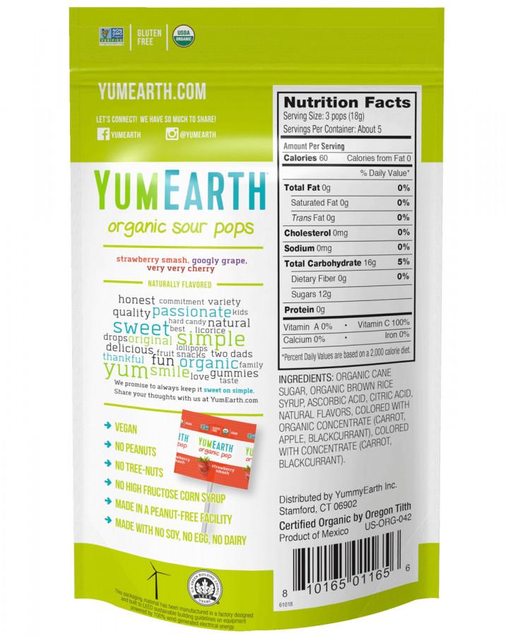 Органические кислые леденцы на палочке YumEarth, 14 шт.