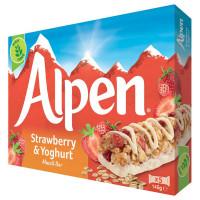 Злаковые батончики с клубникой и йогуртом Alpen, 5 шт.