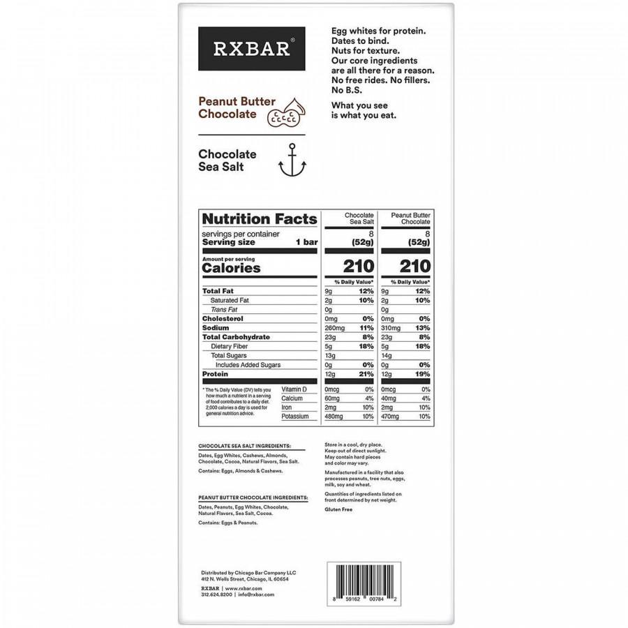 Протеиновые батончики RXBAR с шоколадом и морской солью, 8 шт.