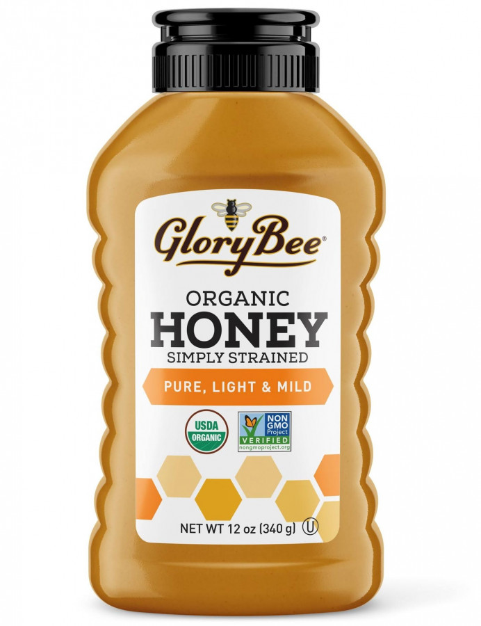 Simply Strained Organic Light and Mild Honey Glorybee, 12 oz