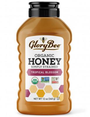 Simply Strained Organic Tropical Blossom Honey GloryBee, 12 oz