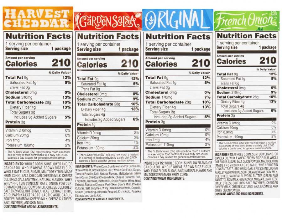 Цельнозерновые чипсы Sun Chips, 4 разных вкуса, 30 упаковок