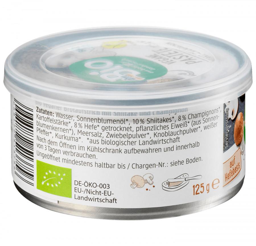 vegane Pastete Shiitake-Champignon dmBio, 125 g