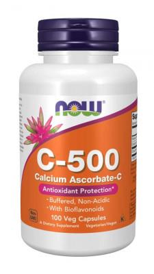 Витамин С (аскорбат кальция) c биофлавоноидами NOW, 100 капсул