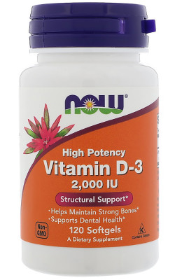 Vitamin D-3 2000 IU NOW, 120 Softgels
