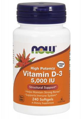 Витамин D3 NOW, 5000 ME, 240 капсул