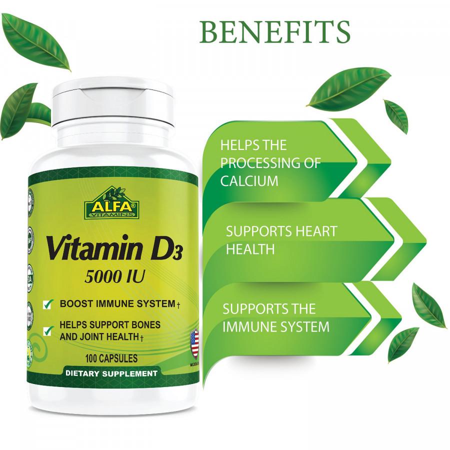 Vitamin D3 5000 IU Alfa Vitamins, 100 Capsules