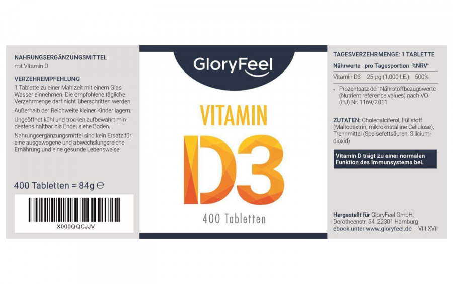 Витамин D3 GloryFeel, 1000 МЕ, 400 капсул