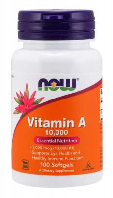 Витамин А NOW 10 000 МЕ, 100 капсул